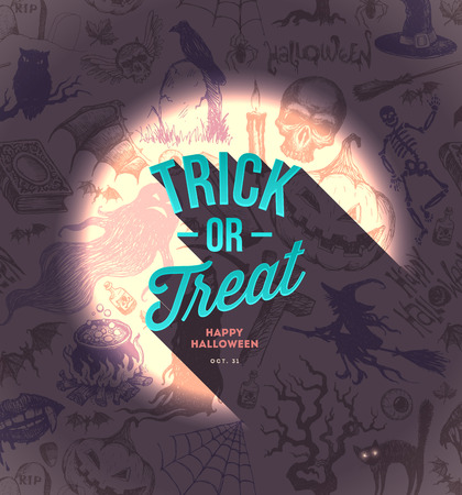 Halloween vector type design on a hand drawn background Vector