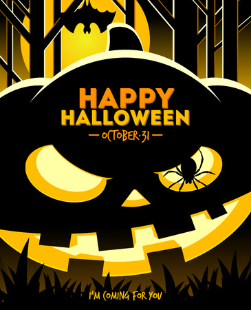 Halloween illustration - jack-o-lantern smiling pumpkin in the night forest Vector