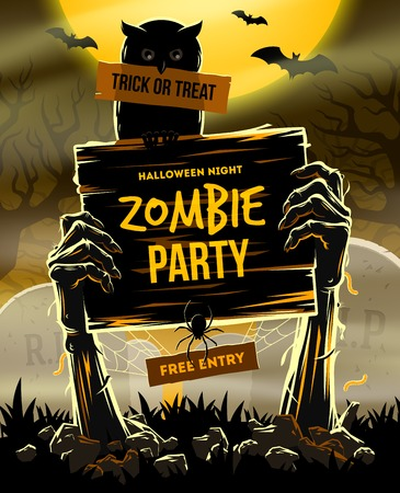 Halloween illustration - Dead Man's arms from the ground with invitation to zombie party Çizim