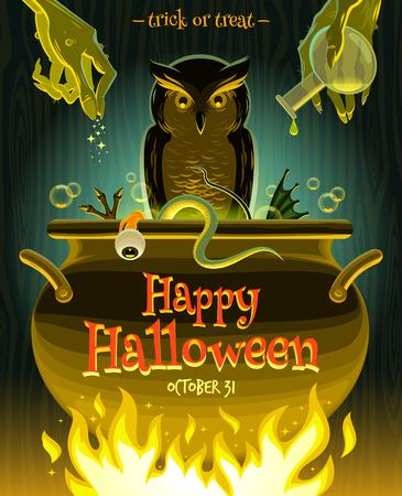 Halloween illustration - witch cooks poison potion in cauldron