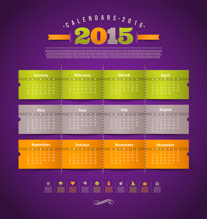 template design - calendar of 2015 year with holidays icons Vector