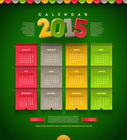 template design - calendar of 2015