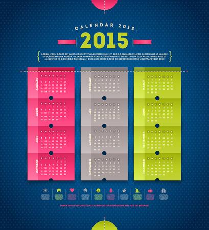 Calendar 2015  - template design with paper elements Illustration