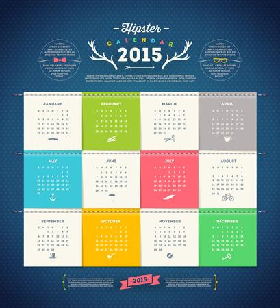 organizer page: dise�o de la plantilla - Calendario 2015 con la p�gina de papel durante meses Vectores