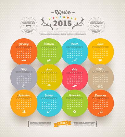 template design - Calendar 2015 with hipster symbols Illustration