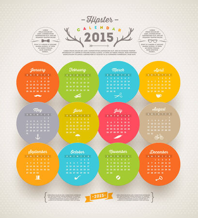 template design - Calendar 2015 with hipster symbols Vector