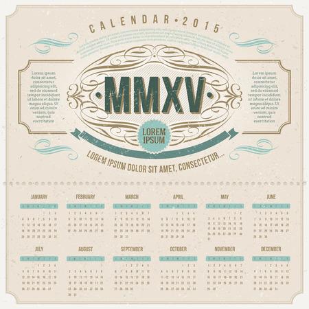 template design - Ornate vintage calendar of 2015 on a cardboard Vector