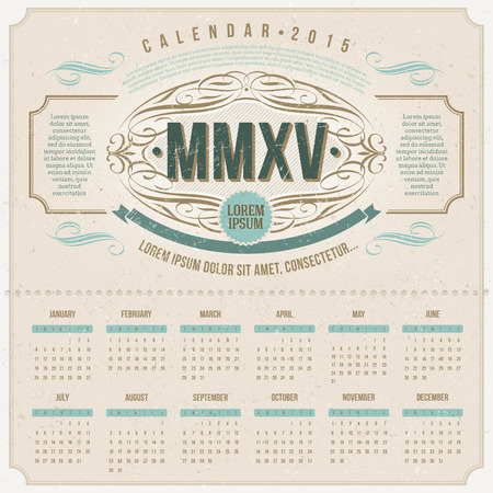 template design - Ornate vintage calendar of 2015 on a cardboard Vector