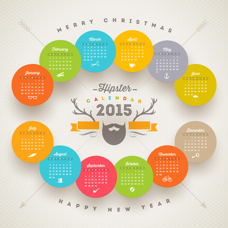 event planner: calendar 2015 template with hipster style elements Illustration