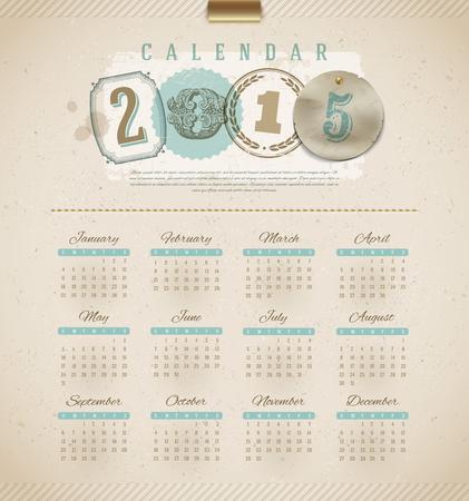 Vintage calendar 2015  Vector