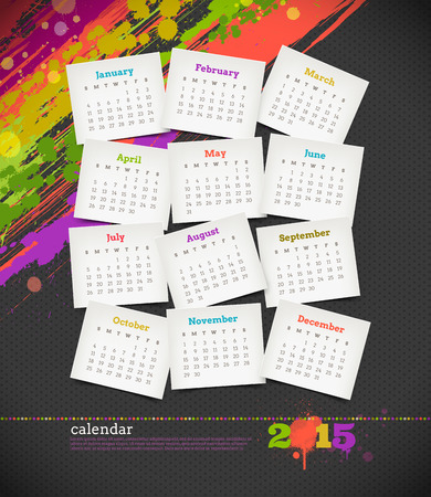 illustration - calendar 2015 with grunge color blots Vector