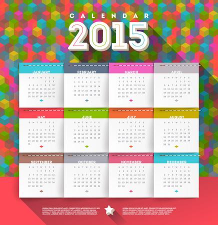 2015 年の抽象的な多色カレンダー