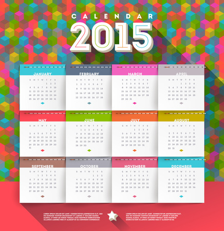calendar september: abstract multicolored calendar of 2015