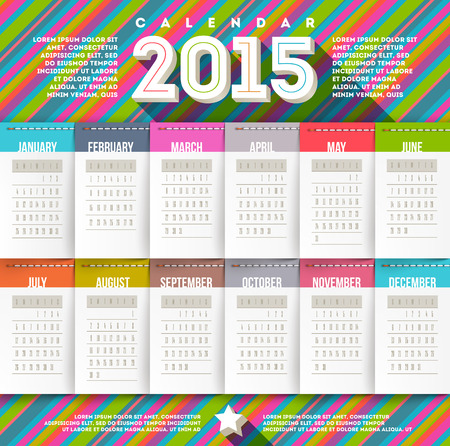 sewn: abstract multicolored calendar of 2015