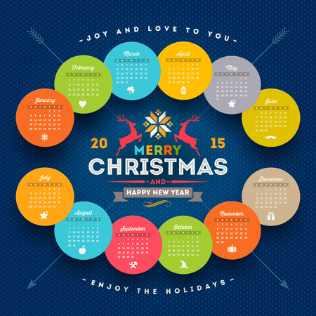 template calendar 2015 with christmas type design elements Vector