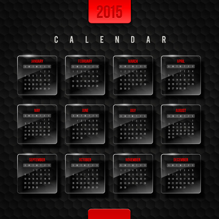 template calendar 2015 - glass frames with month on a black hexagons background Vector