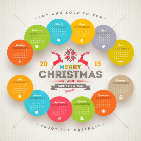 template calendar 2015 with christmas type design Vector