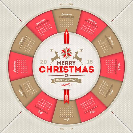 calendar 2015 with Christmas type design Vector