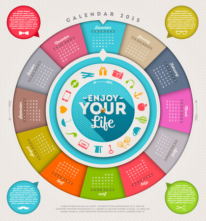 Enjoy your life - calendar 2015 with hipster signs and symbols Vector