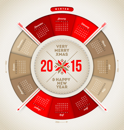 Christmas and New year calendar 2015 Vector