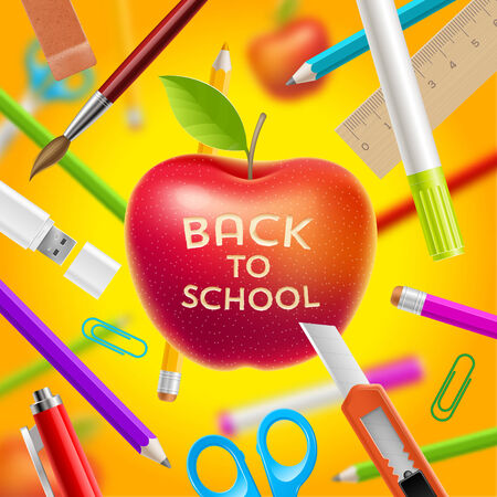 school class: Back to school illustration - red apple with greeting and stationery items