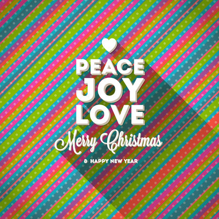 Christmas greeting with long shadow on a striped multicolored background - vector illustration Illustration