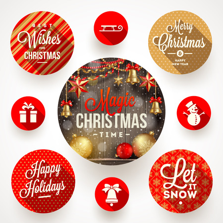 december holidays: Set of round frames with Christmas greetings and flat icons with long shadows - vector illustration
