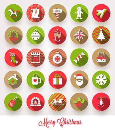 Vector set van kerst vlakke pictogrammen met lange schaduwen
