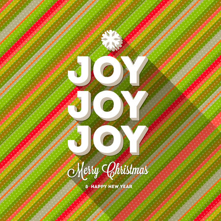 Christmas greeting with long shadow on a striped multicolored background Vector