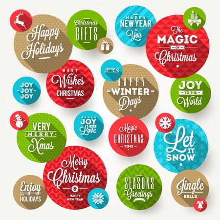 feliz: Vector conjunto de marcos redondos con el saludo de Navidad, las frases y los iconos planos con larga sombra