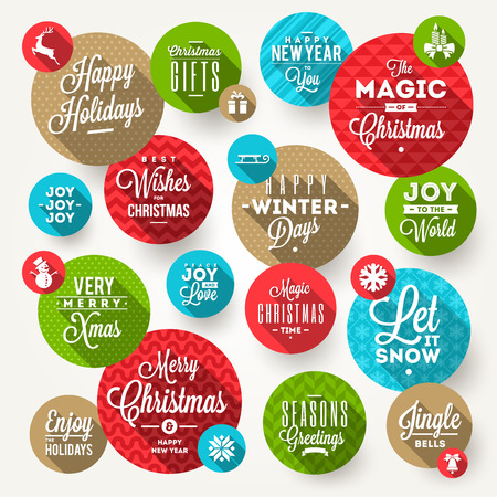 Vector set of round frames with Christmas greeting, phrases and flat icons with long shadow