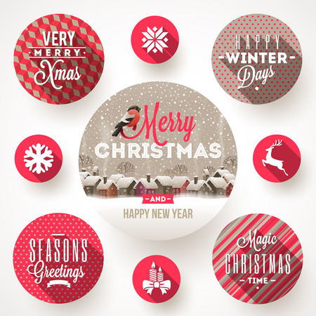 villages: Set of round frames with Christmas greetings and flat icons with long shadows - vector illustration
