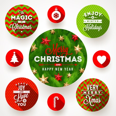 tree ornaments: Set of round frames with Christmas greetings and flat icons with long shadows - vector illustration