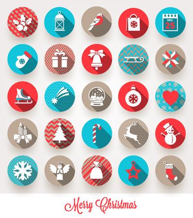 icone tonde: Vettore di set di icone piane di Natale con le ombre lunghe