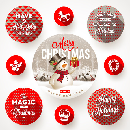 Set of round frames with Christmas greetings and flat icons with long shadows - vector illustration