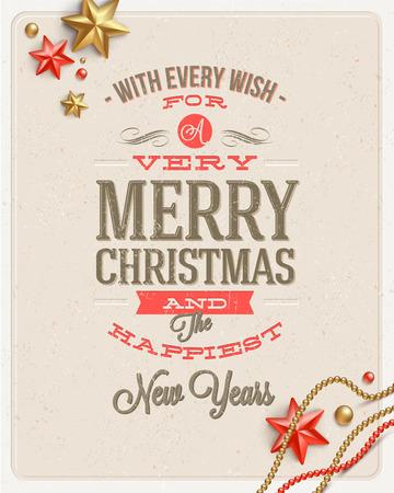 Christmas type design and holidays decoration on a cardboard background - vector illustration Illustration
