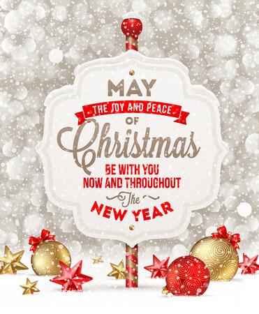 mo�os de navidad: Letrero con la tarjeta de saludo y la decoraci�n de Navidad en la nieve - ilustraci�n vectorial