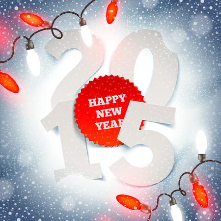 New years greeting illustration -  paper year number on snow and Christmas light Vector