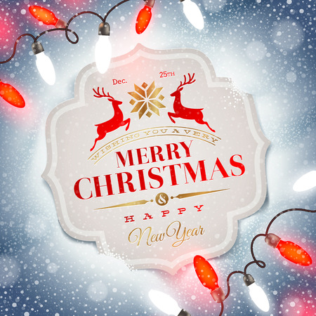 new year greetings: Christmas card with holiday type design and Christmas light