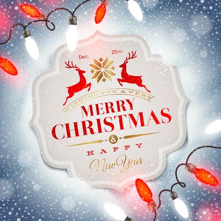 Christmas card with holiday type design and Christmas light