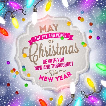 joyeux noel: Carte de Noël avec la conception de type de vacances et de la lumière de Noël Illustration