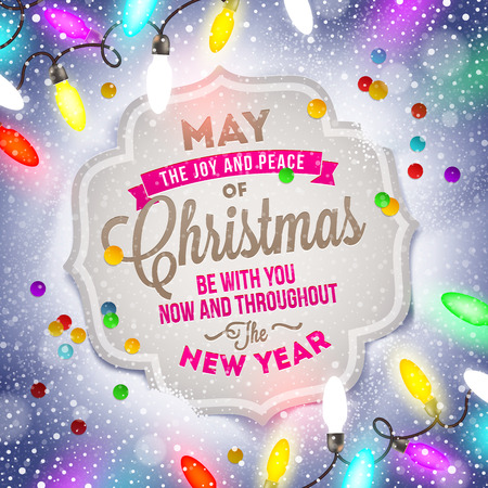 Christmas card with holiday type design and Christmas light Vector