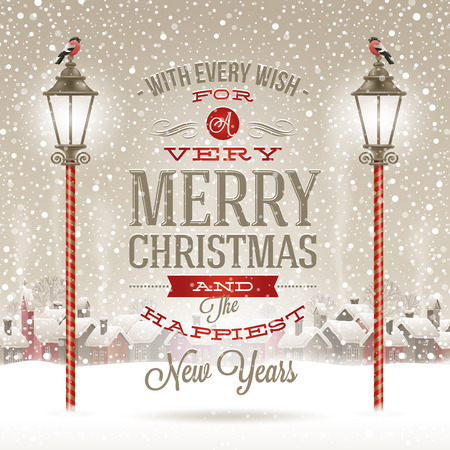 christmas decorations: Christmas greeting type design with vintage street lantern against a winter village - holidays vector illustration