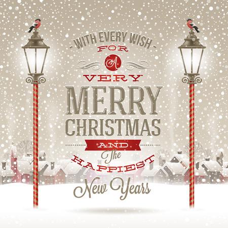 adornos navidad: Dise�o tipo de saludo de Navidad con linterna calle de la vendimia contra un pueblo de invierno - Vacaciones en ilustraci�n vectorial
