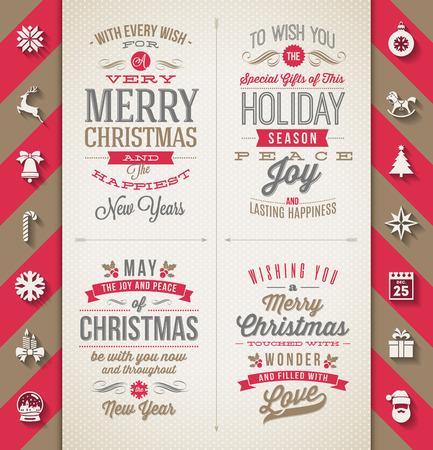 tipos de letras: Conjunto de diseños navideños de tipo y los iconos planos con larga sombra - Vacaciones en ilustración vectorial