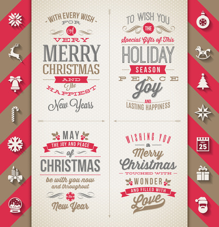phrases: Set of Christmas type designs and flat icons with long shadow - vector holidays illustration