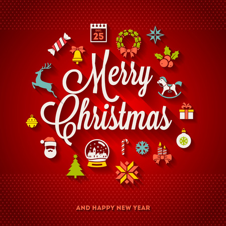 Vector de felicitación del diseño de Navidad - Vacaciones en letras y los iconos planos con las sombras largas