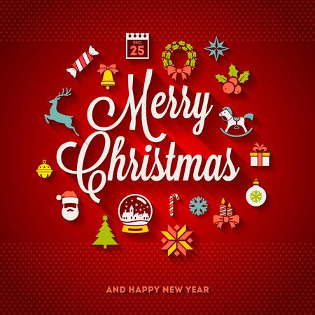 tannenbaum: Weihnachtsgru� Vektor-Design - Ferien-Schriftzug und Symbole flach mit langen Schatten