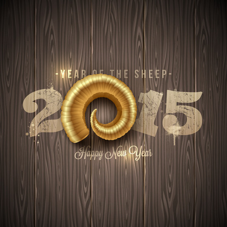 'new year': New years greeting with golden horn of a sheep on a wooden surface - vector illustration