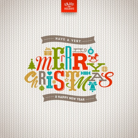 Multicolored Christmas  type design on a knitted white background - vector illustration Vectores